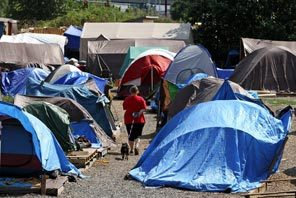 Symbol of hard times: Nickelsville, a tent city located in Seattle WA