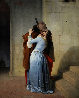 THE KISS, by Francesco Hayez, 1859, oil on canvas (located in the Pinacoteca di Brera, Milan)